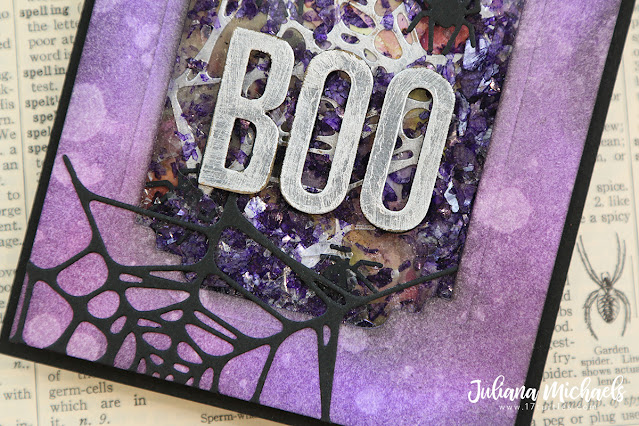 Halloween Boo Shaker Card by Juliana Michaels featuring Tim Holtz Sizzix Spider Web Thinlits