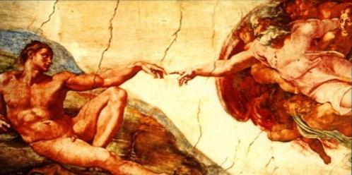 A Criação de Adão. - Afresco de 280 cm x 570 cm, pintado por Michelangelo Buonarotti por volta de 1511, no teto da Capela Sistina. #PraCegoVer