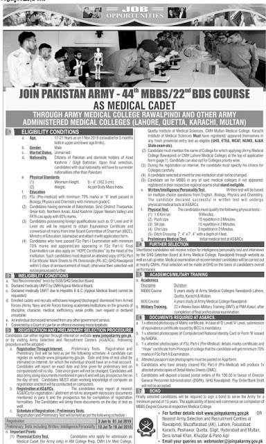Join Pak Army as Medical Cadet 2019 AMC 44th MBBS Course Online Registration