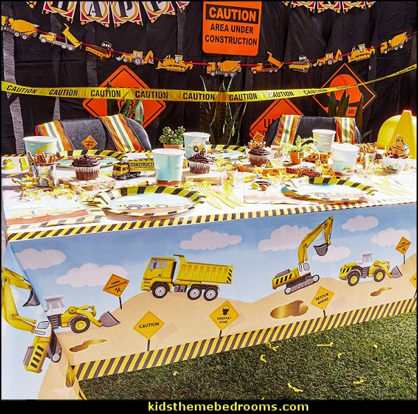 Construction Table Cloth Cover for Kids Birthday Party  Construction Table Cloth Cover for Kids Birthday Party   Features a plain white table top cover with trucks, heavy machines, and road sign prints on the sides.