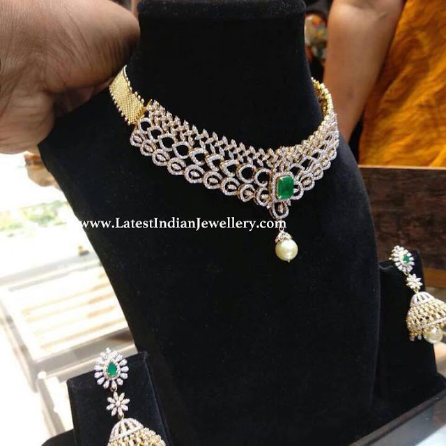 Diamond Necklace Jhumkas in 8 Lakhs