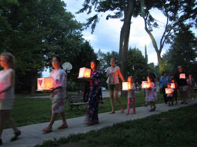 Hiroshima Day Kingston Peace Lantern Ceremony more walking with lanterns