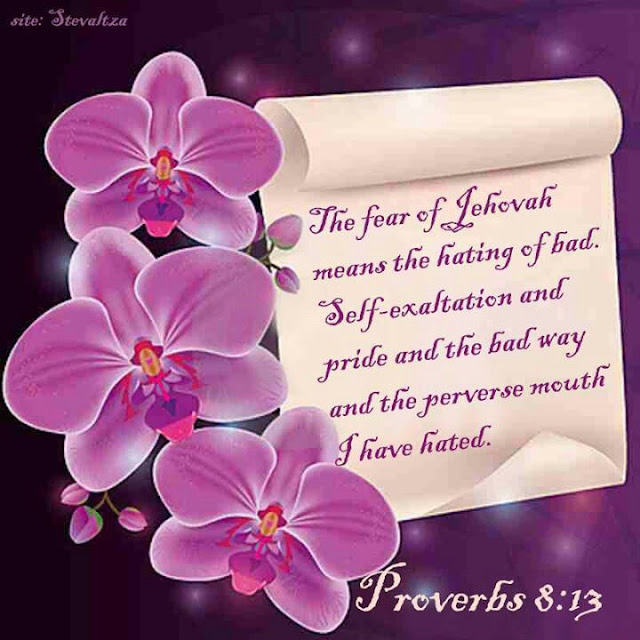 To fear the LORD is to hate evil; I hate pride and arrogance, evil behavior and perverse speech
