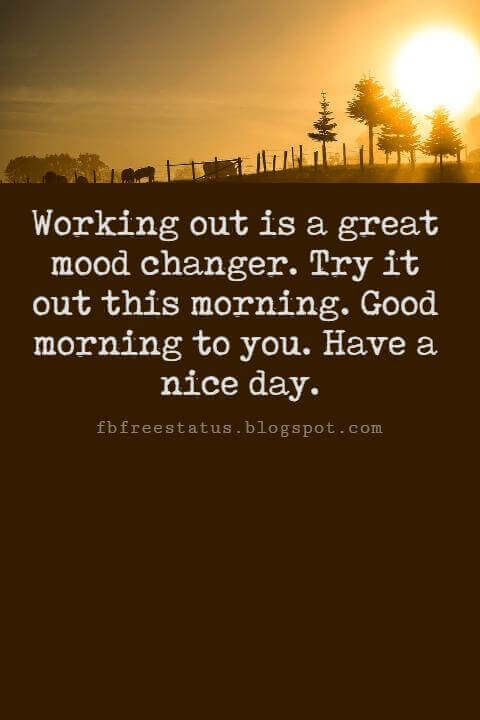 Sweet Good Morning Texts, Working out is a great mood changer. Try it out this morning. Good morning to you. Have a nice day.