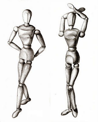 Pencil drawing of a wooden mannequin in different poses