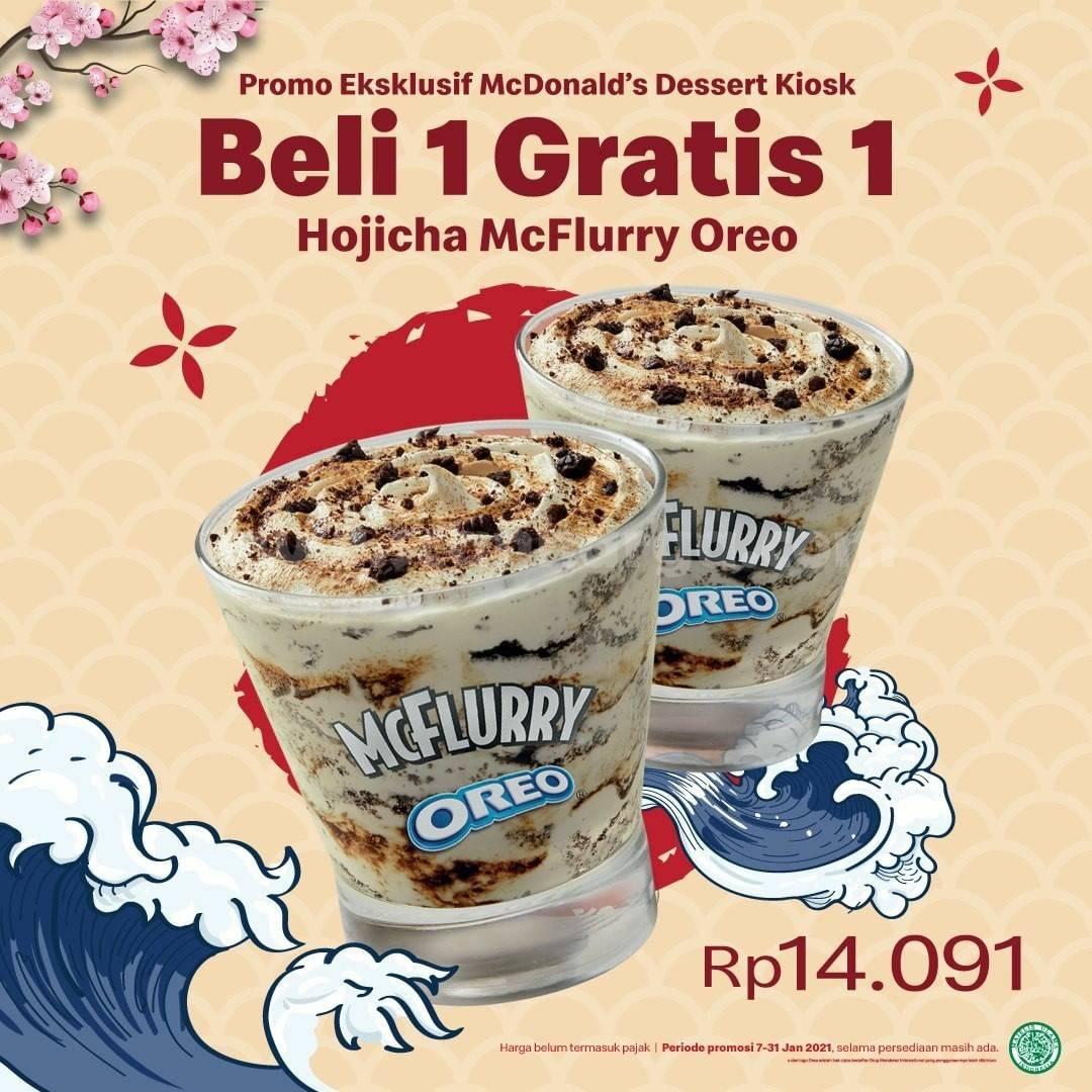 McDonalds Promo Dessert Kiosk Beli 1 Gratis 1 Hojicha McFlurry Oreo