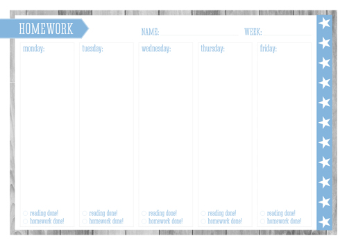 Back to School Free Printable Kid's Homework Planner