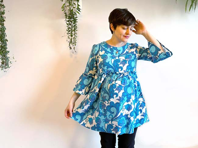 Indigo smock in bold blue vintage print - worn by Tilly