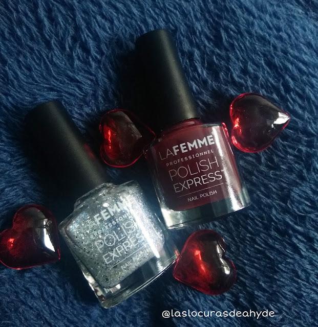 Dos esmaltes de uñas rojo y glitter plata de la marca La Famele