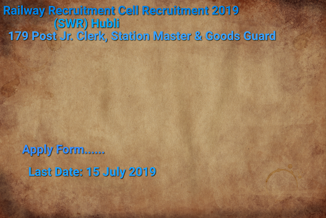 Railway Recruitment Cell Recruitment 2019- Apply Form for 179 Posts