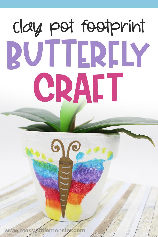 Butterfly footprint clay pot craft. Baby footprint butterfly.
