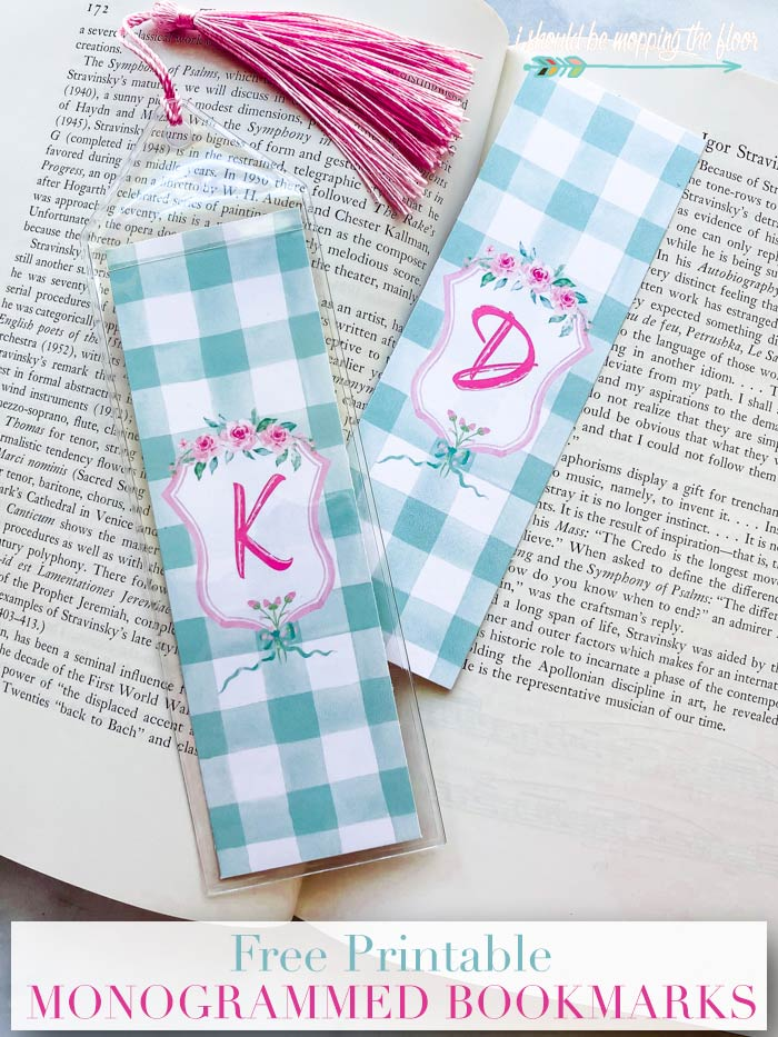 Bookmarks with Monogram Letters