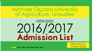 Michael okpara University Merit List 2016/2017