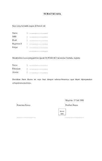 Contoh Surat Kuasa Pengambilan Ijazah (via: infobankterbaru.com)