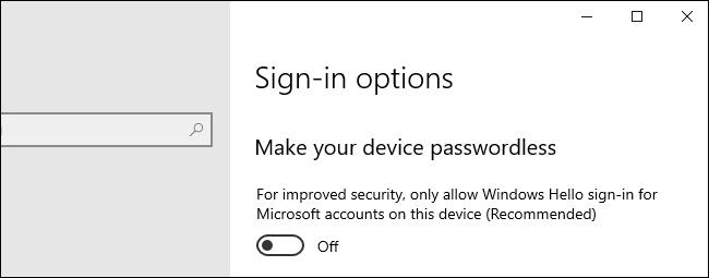 خيار لجعل جهازك بدون كلمة مرور على Windows 10.
