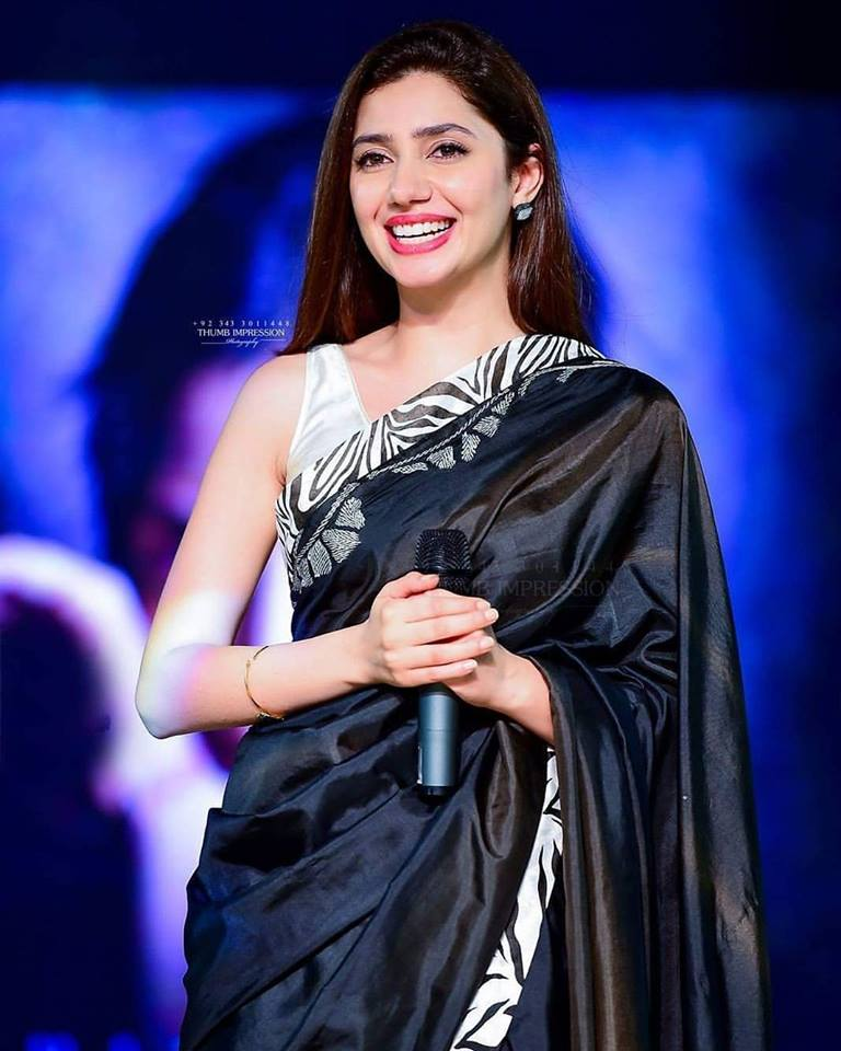 Mahira Khan looking stunning in Saree during promotions of her upcoming film Verna .