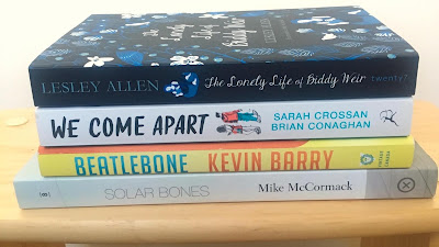 Stack of four books. The Lonely Life of Biddy Weir by Lesley Allen, We Come Apart by Sarah Crossan and Brian Conaghan, Beatlebone by Kevin Barry, Solar Bones by Mike McCormack
