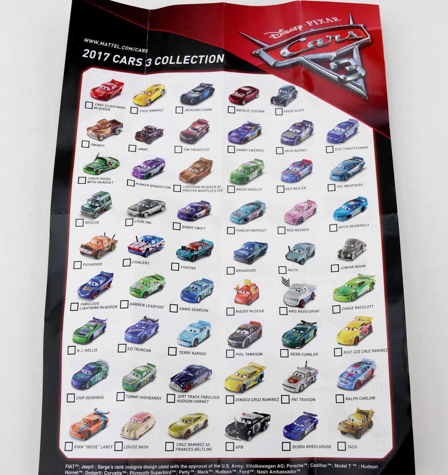 mattel cars 3 diecast mini poster