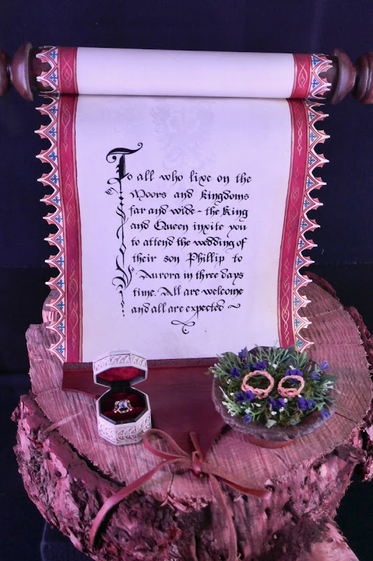 Wedding invitation scroll rings Maleficent Mistress of Evil
