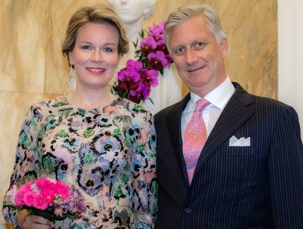 Queen Mathilde wore Giorgio Armani embroidered gown from Pre-Fall 2016 Collection