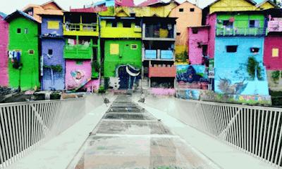 Jembatan Kaca Kampung Warna-Warni Jodipan Malang