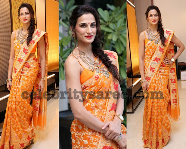 Shilpa Reddy Light Orange Benaras Saree