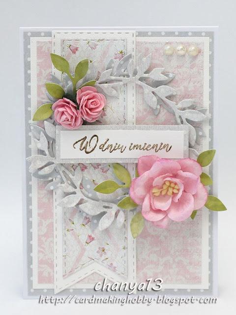 kartka imieninowa z różą