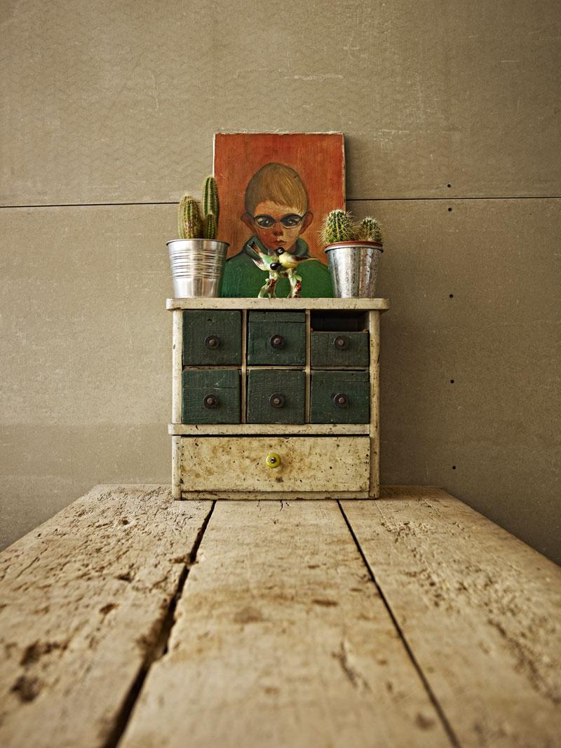Objetos vintage en un mini loft vintage- industrial