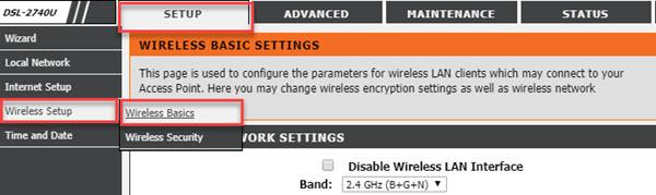 dlink dsl-2740u wireless router, wifi settings