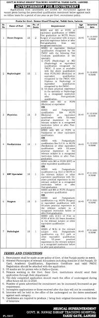 Job Opportunities at Govt Muhammad Nawaz Sharif Teaching Hospital, Lahore