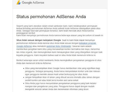 situs tidak sesuai dengan kebijakan google