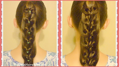 Kaleidoscope loop and kaleidoscope braid comparison. Video tutorial for both ponytails.