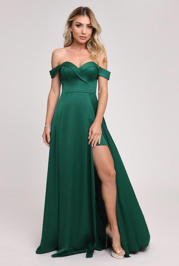 vestido de festa longo verde com fenda para madrinha de casamento