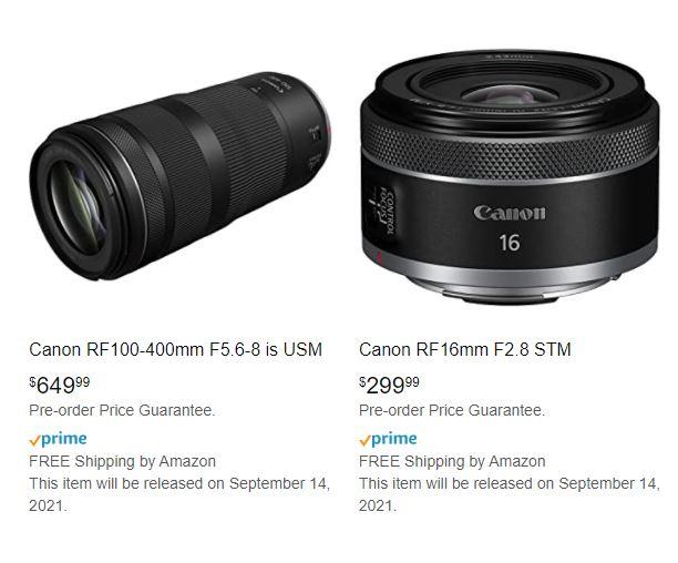 Цены на два новых объектива Canon