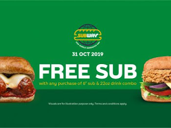 31 Oct 2019 Free Subway Sempena Sandwich Day!!