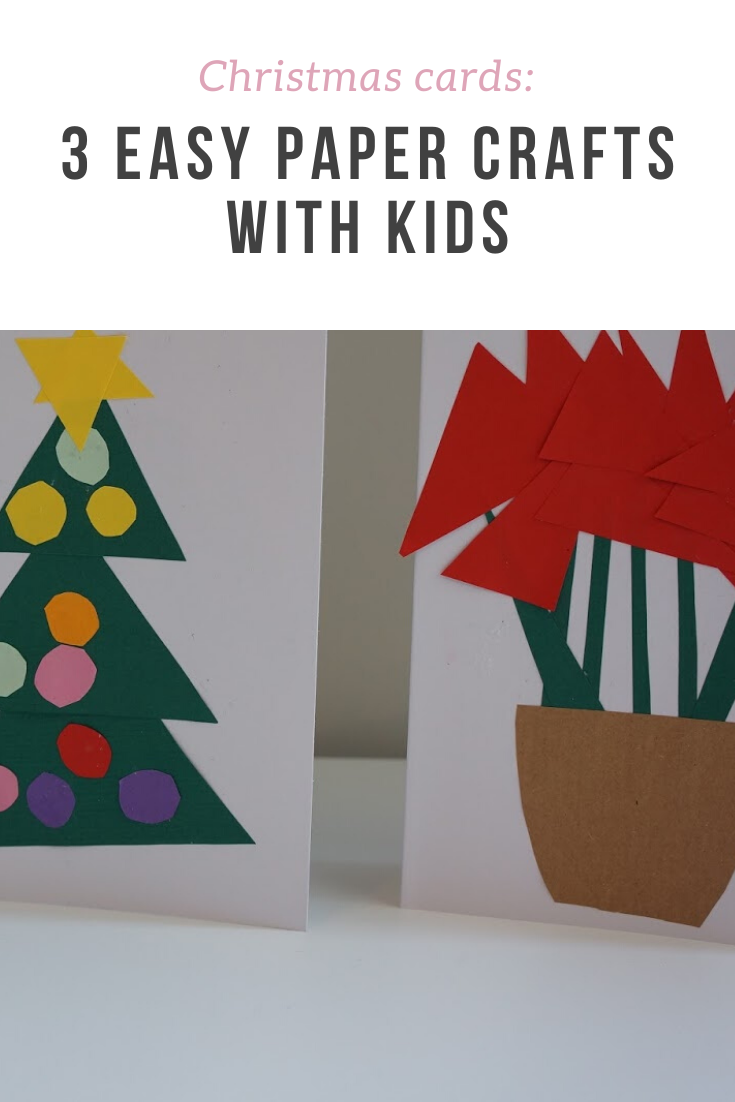 3 easy, quick and non-messy Christmas card crafts to do with toddlers or young kids - includes a Christmas tree, a stack of gifts and a poinsettia.