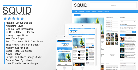 squid responsive premium blogger template 2014 for blogger or blogspot,download premium blogger template,responsive blogger template,ads ready blogger template 2014 2015,social bookmarks icon,3 column blogger template