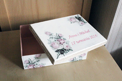 Pudełko ślubne decoupage