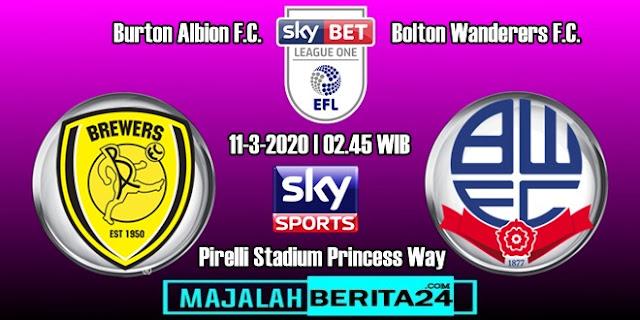 Prediksi Burton Albion vs Bolton Wanderers