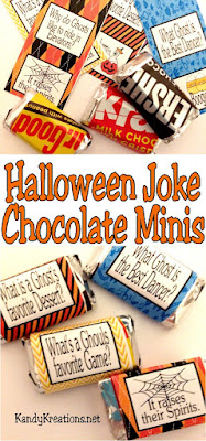 "Give out the ""good stuff"" this Halloween to your favorite trick or treaters, at your Trunk or Treat party, or to a Halloween classroom party with these fun Halloween jokes on miniature chocolates.  These printable candy bar wrappers are easy and will give a laugh to your little Monsters."