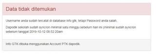 data tidak ditemukan cek info GTK