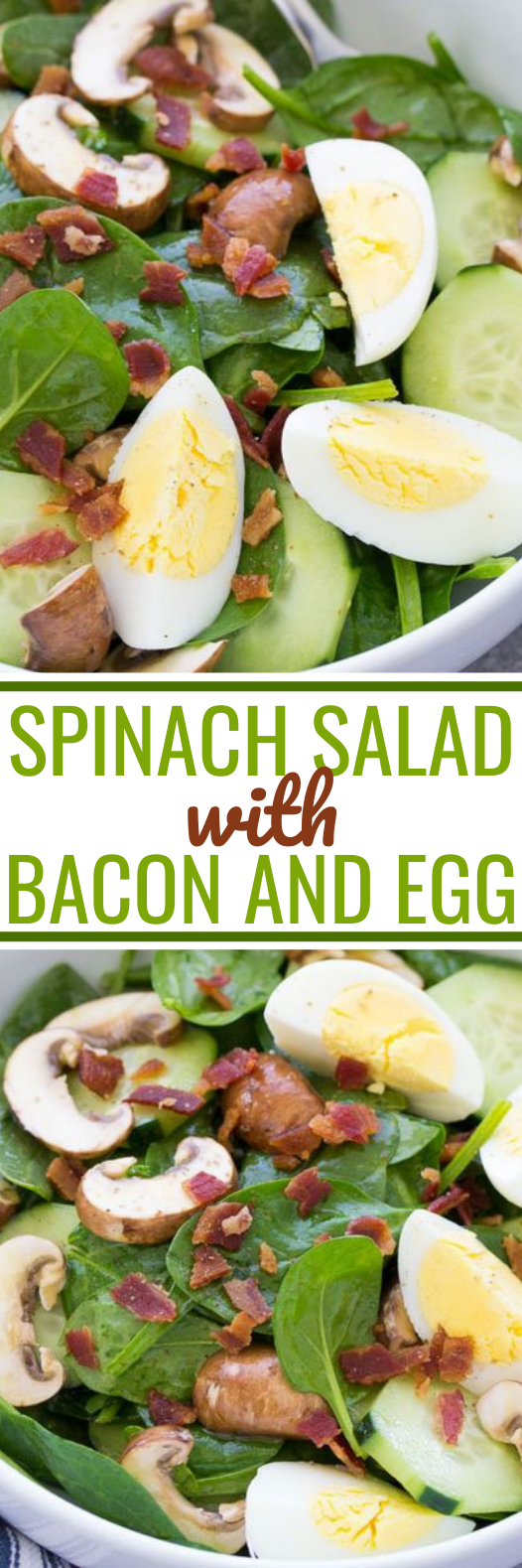 Spinach Salad with Bacon and Eggs #healthy #lunch #salad #glutenfree #keto