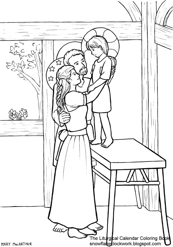 Snowflake clockwork holy family coloring page december for December coloring page