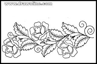 flower border drawing easy/flower border design drawing on paper for hand embroidery designs