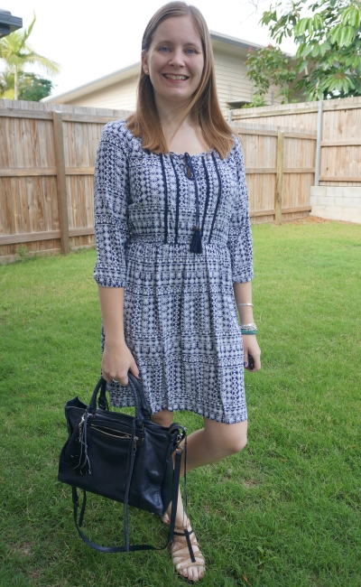 Jeanswest 'Chelsea' printed dress with navy rebecca minkoff regan satchel bag summer outfit | awayfromtheblue