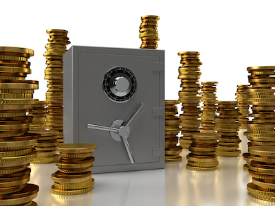3D Closed safe with stacks of coins background