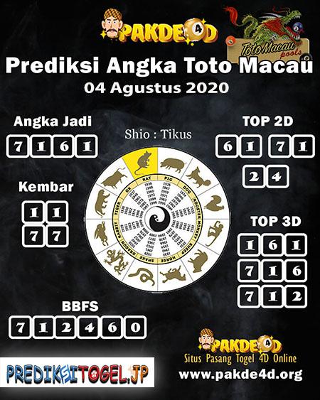 Prediksi Pakde 4D Togel Macau Selasa 04 Agustus 2020