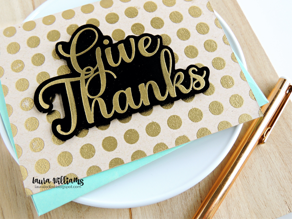 Craft a handmade fall Give Thanks card, for Thanksgiving or as a thank you card using stamps from Impression Obsession. Using just two stamps, this card is elegant and striking. Click to see the three things that really make this elegant thank you card POP.