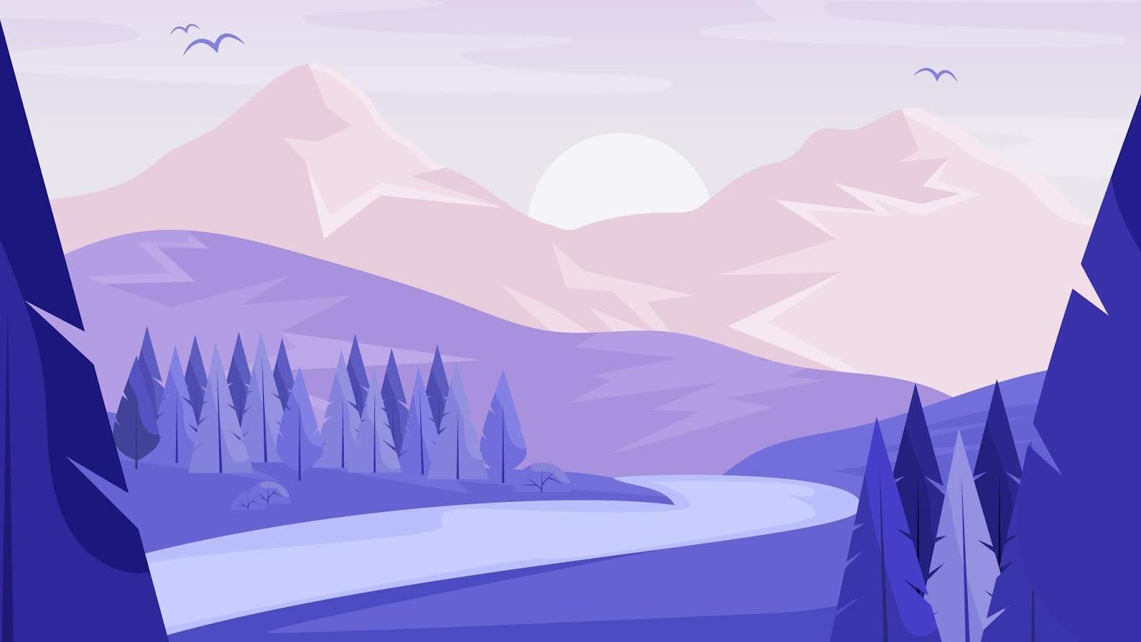 Minimalist landscape desktop wallpaper 4k