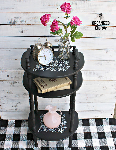 Photo of upcycled telephone table with paisley stencil